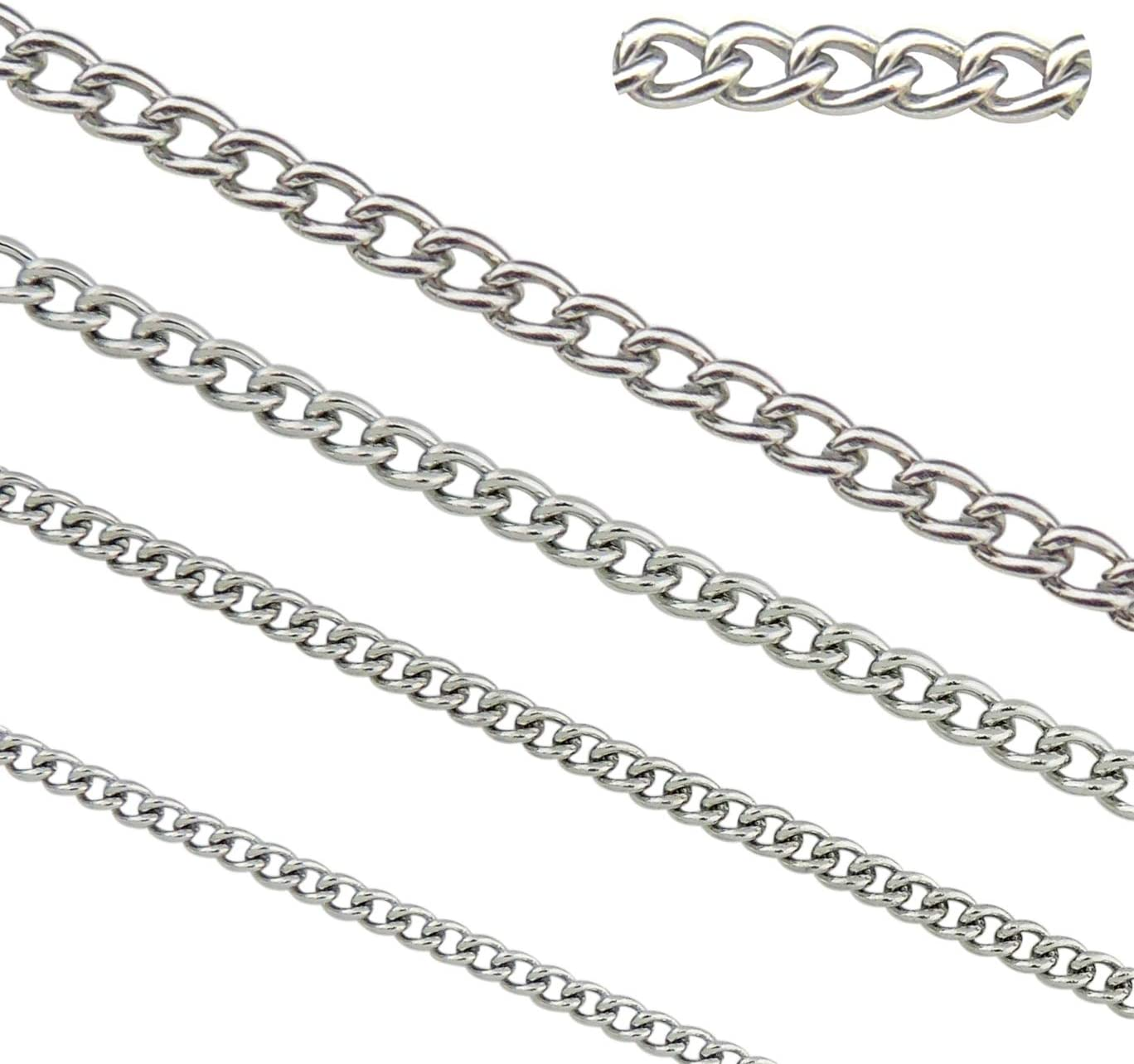Same day shipping 66.6ft Stainless 2021 new Steel Twisted Cross Findings Fit Chains fo Curb