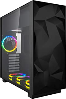 Rosewill ATX Mid Tower Gaming Computer Case with Tempered Glass and RGB Fans, Up to 240mm AIO and 440mm VGA Support, Sync with ASUS, MSI, Gigabyte MOBO, Top Mount PSU & HDD/SSD - Prism S-Black