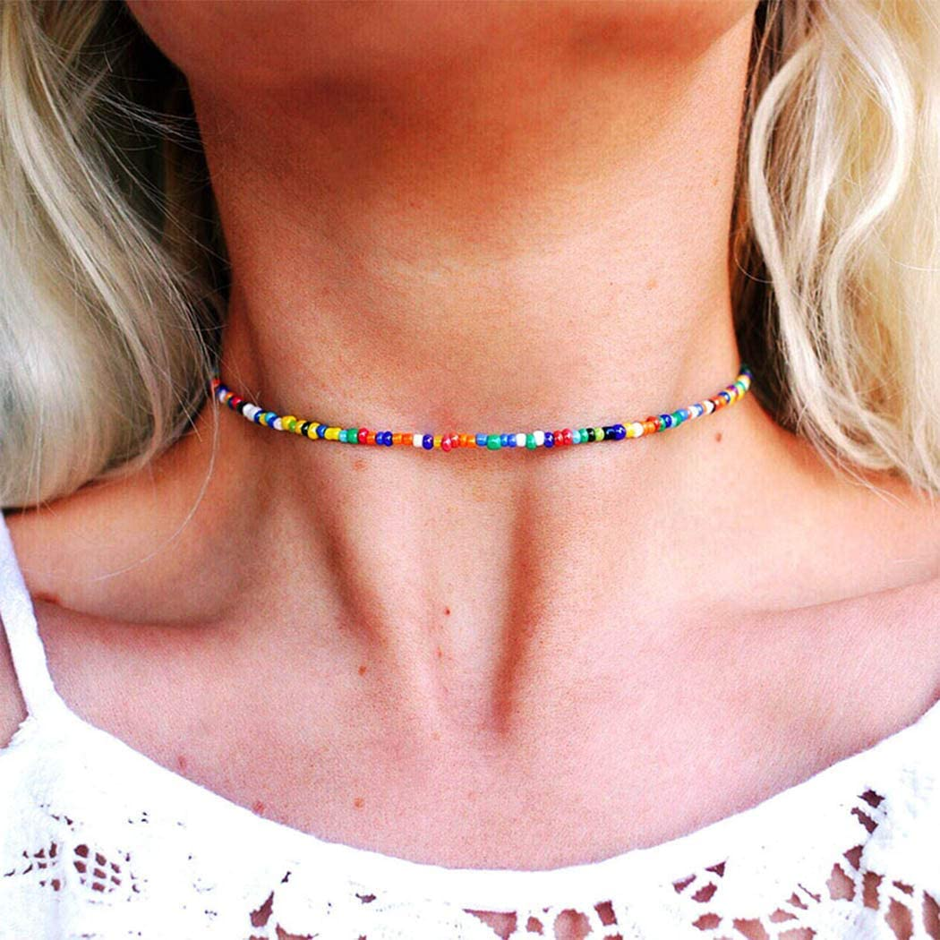 Sttiafay Bohemian Colorful Beaded Choker Necklace Handmade Bead Clavicle Collar Necklace Chain Summer Beach Accessories for Women and Girls