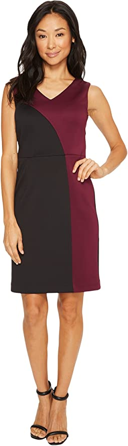 Color Block Dress with V-Neck