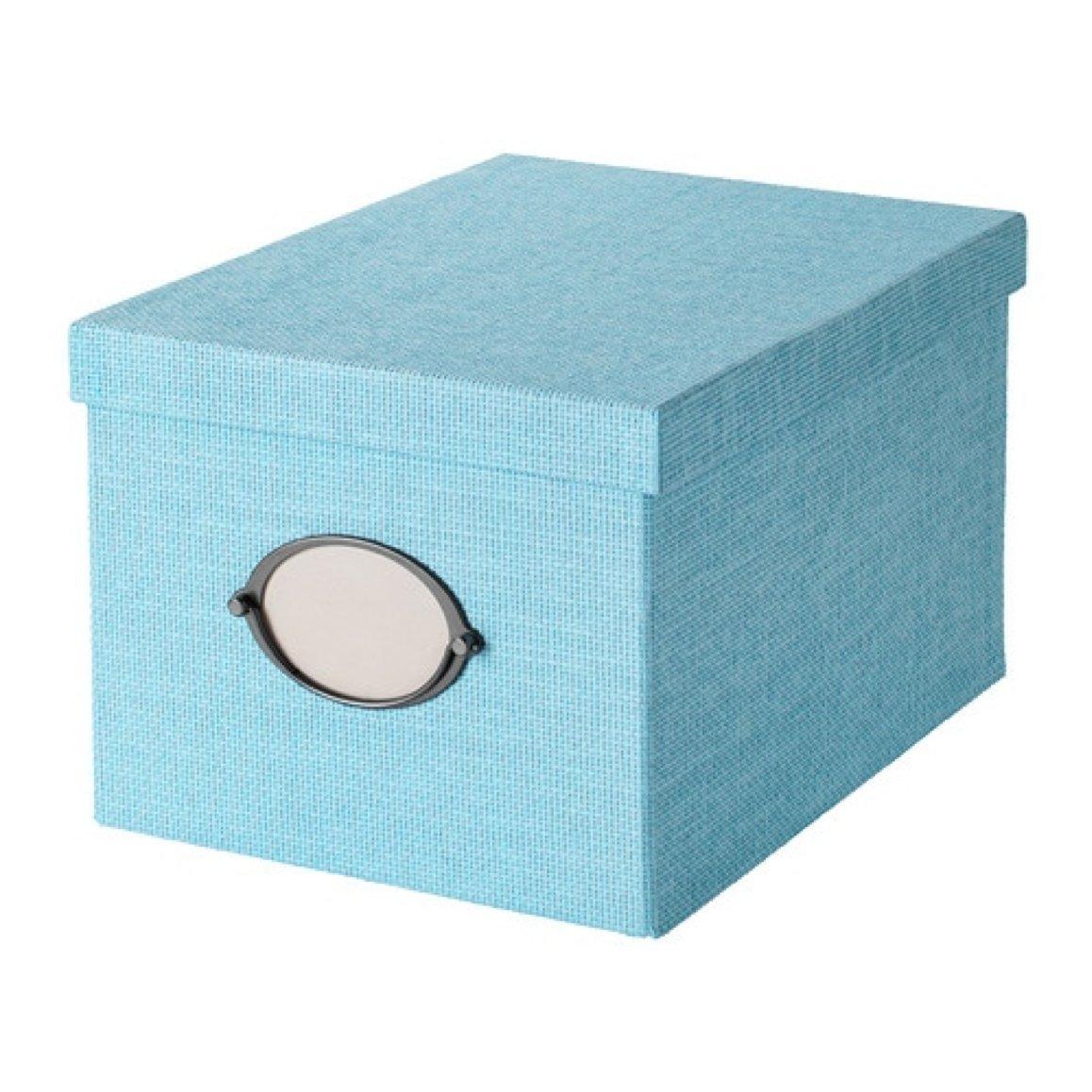 Ikea Kvarnvik 903.970.63 - Caja de almacenaje con tapa (tamaño 9, 4 x 13 x 7 cm), color azul: Amazon.es: Hogar