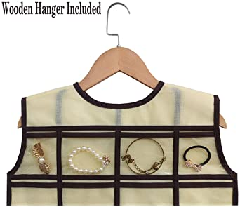 BB Brotrade Hanging Jewelry Organizer,Double Sided Jewelry Storage Organizer with Wooden Hanger,86 Clear PVC Pockets ...