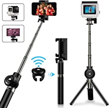 Selfie Stick Tripod, Vproof Extendable Bluetooth Selfie Stick with Detachable Wireless Remote, Compact Monopod for iPhone Xs Max/XR/XS/X/7 Plus/6S Plus, Galaxy Note 9/S9, GoPro Cameras (Black)