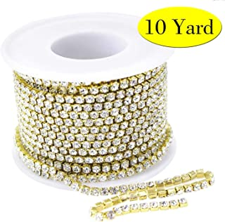10Yard 2.8MM Clear Crystal Rhinestone Chain Close Trim Cup Chains Bulk for Craft Jewelry Making (Golden)