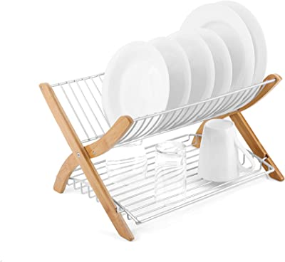 Umbra Stack Folding Drying Built in Flat Bottom Tray, Made of Bamboo and Wire, Natural/Nickel Dish Rack