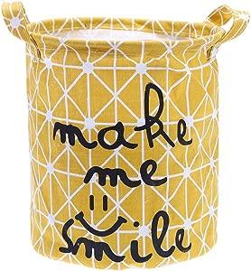 Globeagle Foldable Washing Laundry Basket Hamper Cotton Linen Clothes Storage Yellow