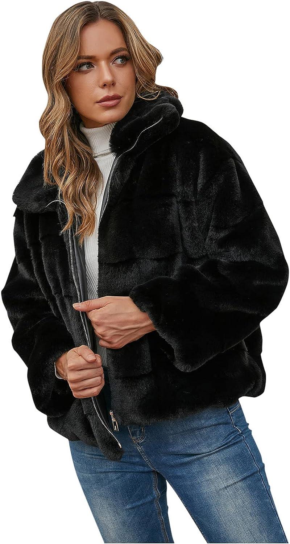 Rovga Women Plus Size Winter Warm Faux Coat Furry Faux Short Jacket Long Sleeve Outerwear Cardigan Coat