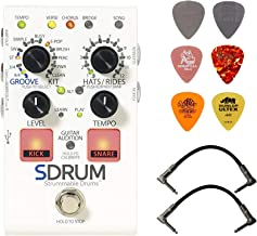 DigiTech SDRUM Strummable Drums Effects Pedal Bundle with 2 Patch Cables and 6 Dunlop Picks