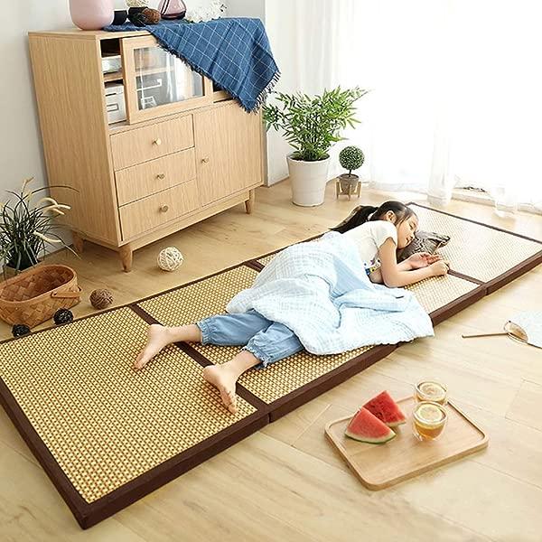 可折叠藤条床垫日本传统榻榻米垫蒲团床垫结实舒适 29X79X1 8 棕色褶皱轻松适合床冥想空间瑜伽禅室日本茶室