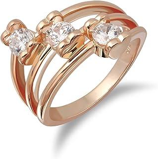 خواتم VIVIDJEWELRY للنساء مطلية بالذهب عيار 14 قيراط مع 3 درجة AAA + زركونيا مكعب أبيض لامع على شكل قلب