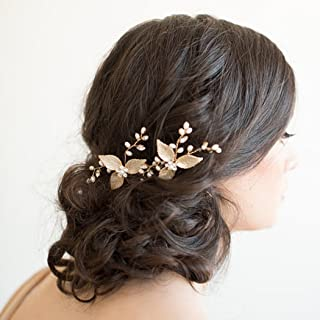 Artio Wedding Hair Pins Accessories with Crystal Rhinestones and Beads for Brides and Bridesmaids 2 PCS HP-9532(Gold)