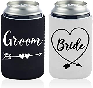 2 Funny Bride and Groom Can Coolers Gifts for Men And Women-12 OZ Collapsible Neoprene Can Beer Bottle Beverage Cooler Cov...