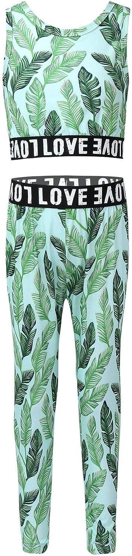 Aiihoo Kids Little Girls Green Leaves Print Athletics Sportswear Sleeveless Vest Crop Top with Leggings Pants Set
