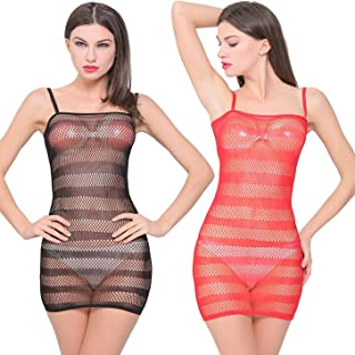d1aa970872ac7 LOVELYBOBO Robe Décolletée Maille Pyjama Lingerie Nuisette Babydoll Sexy  Déguisement Vêtement Nuit Pack de 2
