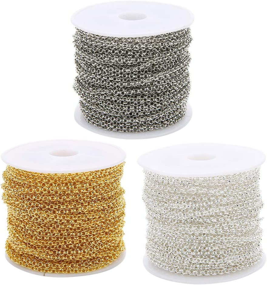 menolana 30yds Golden discount Silver White K Oakland Mall Chain Cable Iron