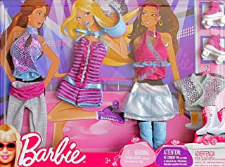 BARBIE FASHIONS w Shimmery ROLLER SKATING & DANCE CLOTHES, Roller SKATES & More (2009 Mattel Canada)