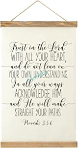 VinMea Canvas Poster Trust in The Lord, Proverbs 3 5-6 Wood Frame Hanger Wall Hanging Banner Wall Art Home Decor