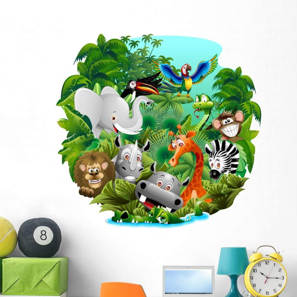 Wallmonkeys Miami Mall Wild Animals in The Jungle Stick Decal Peel and Wall Cheap mail order shopping