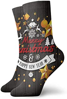 Luxury Calcetines de Deporte Christmas and Happy New Year Illustration Adult Short Socks Cotton Gym Socks for Mens Womens Yoga Hiking Cycling Running Soccer Sports