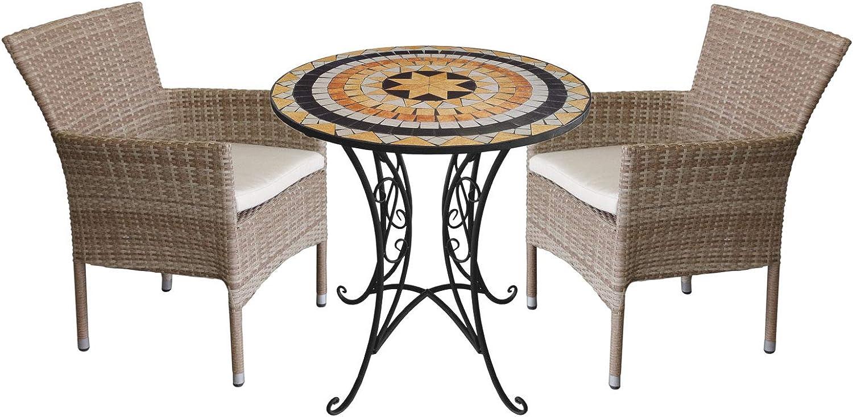 Wohaga 3tlg. Sitzgruppe Gartenmbel-Set Mosaiktisch 70cm + 2X Rattansessel, stapelbar, Polyrattan Natur, inkl. Kissen beige
