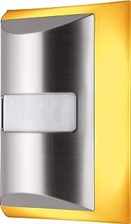 GE SleepLite LED Amber Night Light, Plug Sensor, Dusk-to-Dawn, Melatonin, Promotes Natural Sleep Cycles, Ideal for Bedroom, Nursery, Bathroom, Hallway, 40449, 1 Pack, Brushed Nickel | Motion Select