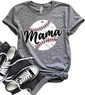 Women Baseball Mom Mama Letter Print T Shirt Short Sleeve Tops Tee