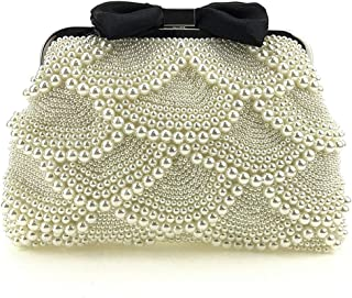 2019 New Personality Handbag Women's Beaded Bag Dinner Package Shoulder Bag Prom Handbag(FM),White