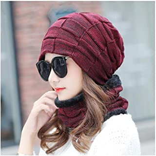 WYMAI Hat Female, Autumn and Winter Bonnet, Knit Hat, Simple and Practical Product (Color : Red)