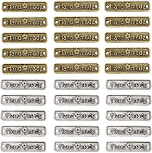 Juland 60PCS Handmade Metal Tags Alloy Hand Made Pendant Bead Charm Metal Label Tag Signs for DIY Jewelry Making Crafts Findings Gift – 25x6mm - Rectangle Silver+ Bronze