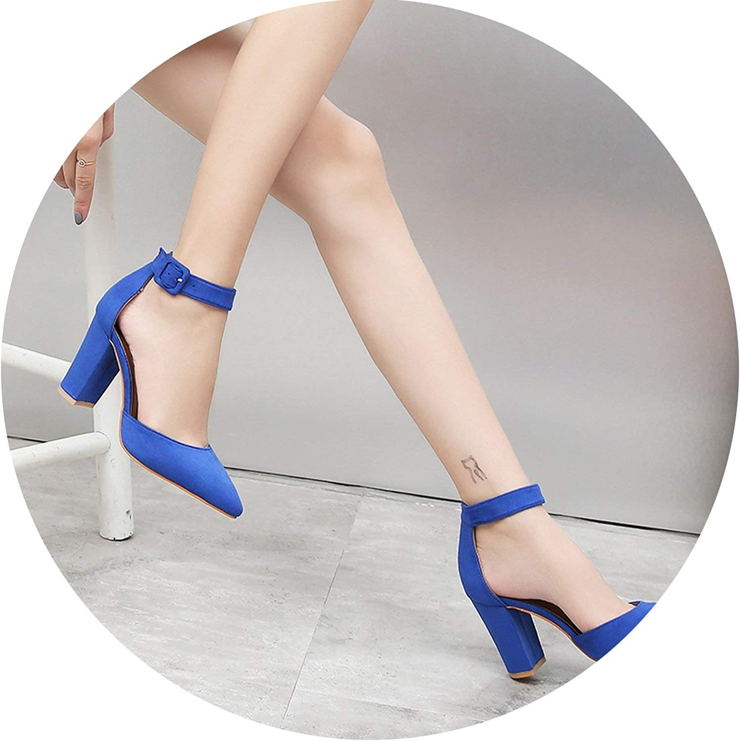 HANBINGPO Pumps Women shoes Sandal Flock Slip-On Shallow Wedding Party Fashion Toe Lady Girl High Heels Pump,bluee,10