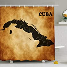 Ahawoso Shower Curtain Set with Hooks 66x72 Country Castro Planet Map Island Green Cuba Nation Tourism Fidel Trip Havana Textures Education Waterproof Polyester Fabric Bath Decor for Bathroom