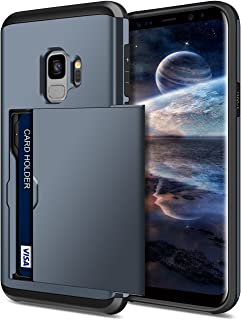 SAMONPOW Wallet Cover for Galaxy S9 Case Hybrid S9 Wallet Case Card Holder Shell Heavy Duty Protection Shockproof Anti Scratch Soft Rubber Bumper Cover Case for Samsung Galaxy S9 Dark Blue