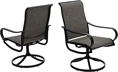 MFSTUDIO 2 Pieces Patio Sling Dining Swivel Chairs with Steel Metal Frame,Bistro Backyard Rocker Chairs Weather Resistant Gar