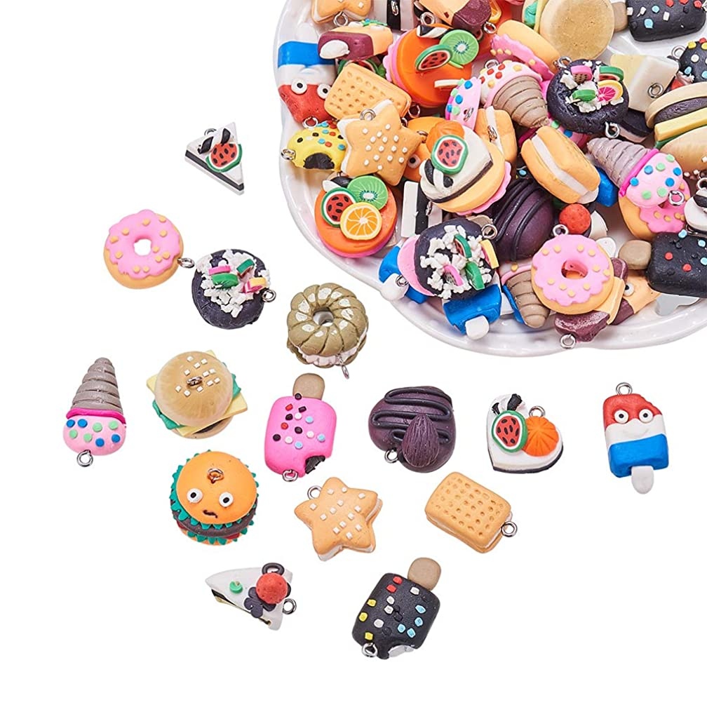 NBEADS 100PCS Random Mixed Color Shape Handmade Polymer Clay Charms Pendant, Food Loose Beads Spacer Beads Bracelet Necklace Earring Jewelry Making Findings