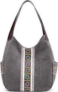 Travistar Handtasche Damen Umhängetasche Multifunktionale Mit Schönen Mustern Canvas Schultertasche Groß Für Arbeit Schule Shopper Lässige Täglich Grau