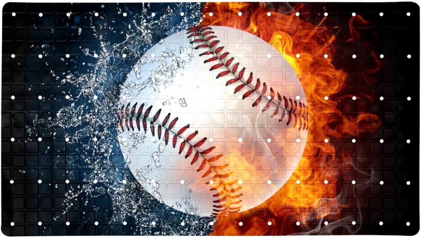 Bath Fresno Mall Tub Shower Mat 15.7x27.9 inches Indefinitely Fire Baseball Ball in W and