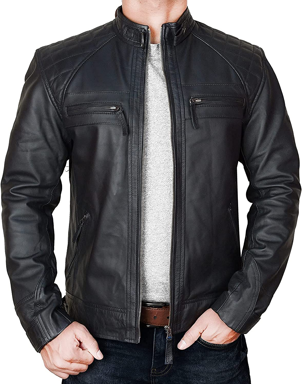 Men's Café Racer Retro Diamond Quilted Exotic Vintage Motorcycle Biker Style Lambskin Leather Jacket