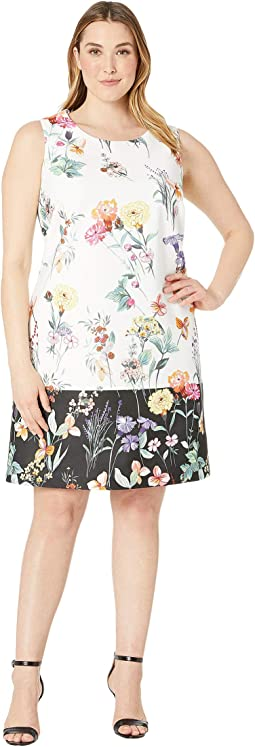 Plus Size Garden Boarder Shift Dress