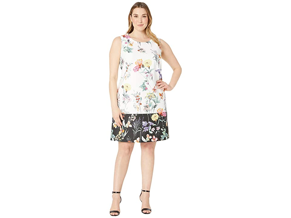 Adrianna Papell Plus Size Garden Boarder Shift Dress (Ivory Multi) Women