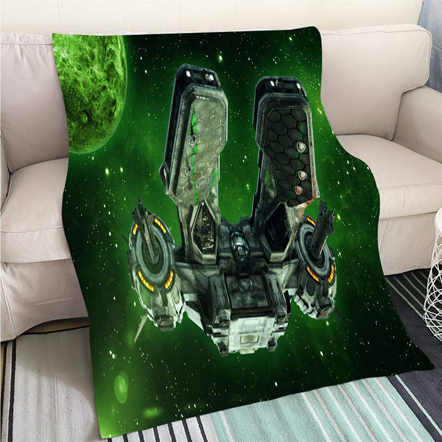 Creative Flannel Printed Blanket for Warm Bedroom Alien Spaceship in deep Space with Planets and Stars in The Background UFO Spacecraft Flying in The Perfect for Couch Sofa or Bed Cool Quilt