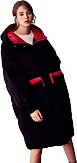 Black Hooded Padded Long Down Jacket Straight Over The Knee Warm Winter Women's Jacket