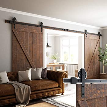 "16ft Double Door Sliding Barn Door Hardware Kit - Smoothly and Quietly - Easy to Install - Includes Step-by-Step Installation Instruction -Fit 42""-48"" Wide Door Panel(Big Industrial Wheel Hanger)"