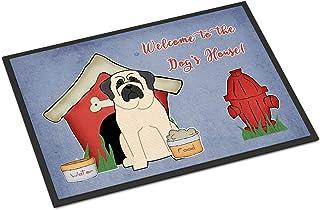 "Caroline's Treasures BB2771MAT Dog House Collection Mastiff White Indoor or Outdoor Mat, 18 x 27"", Multicolor"