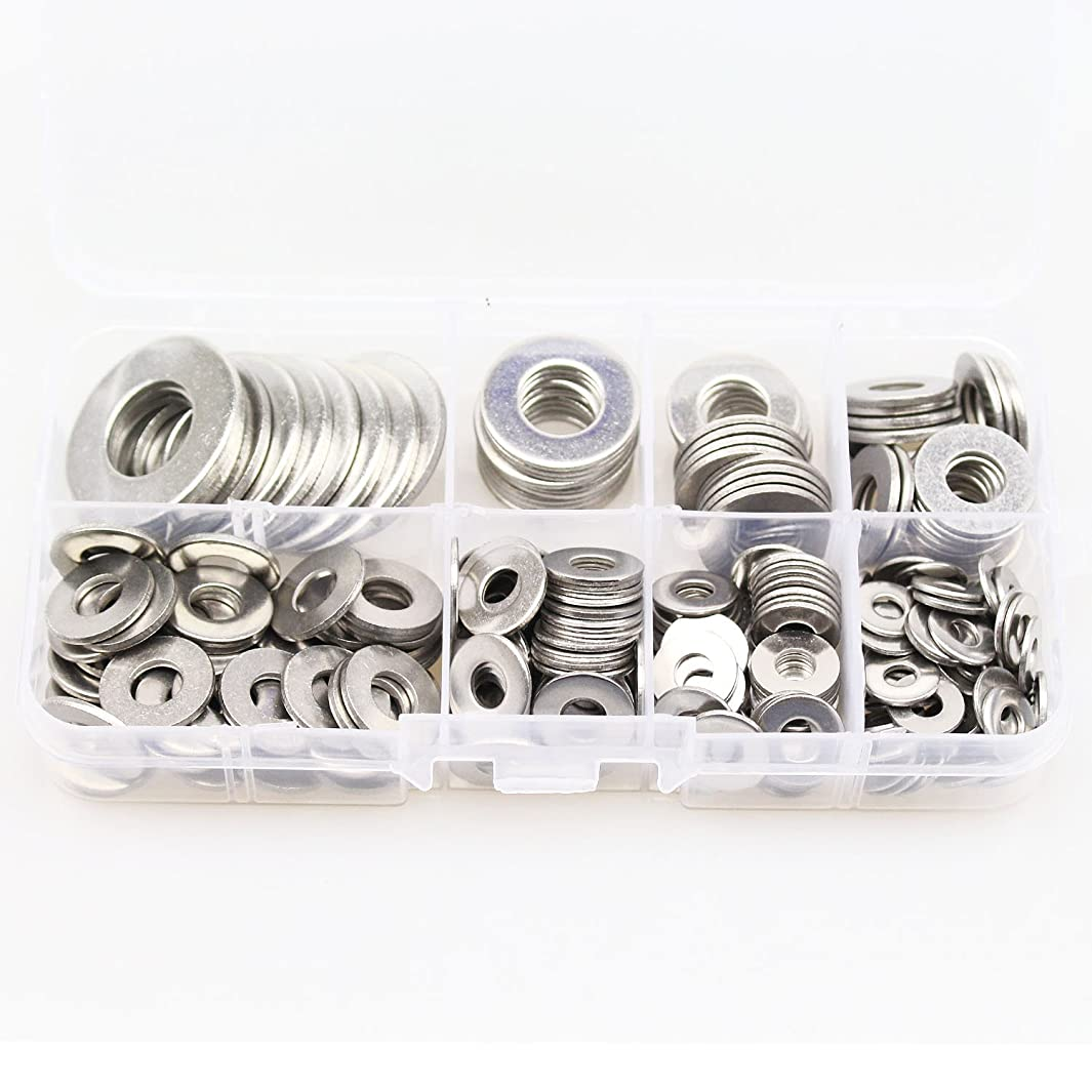 HIFROM 260pcs Flat Washers 8 Sizes 304 Stainless Steel Metric Flat Washers Assortment Set for Bolt Screw (1/2, 3/8, 5/16, 1/4, 12, 10, 8, 6)