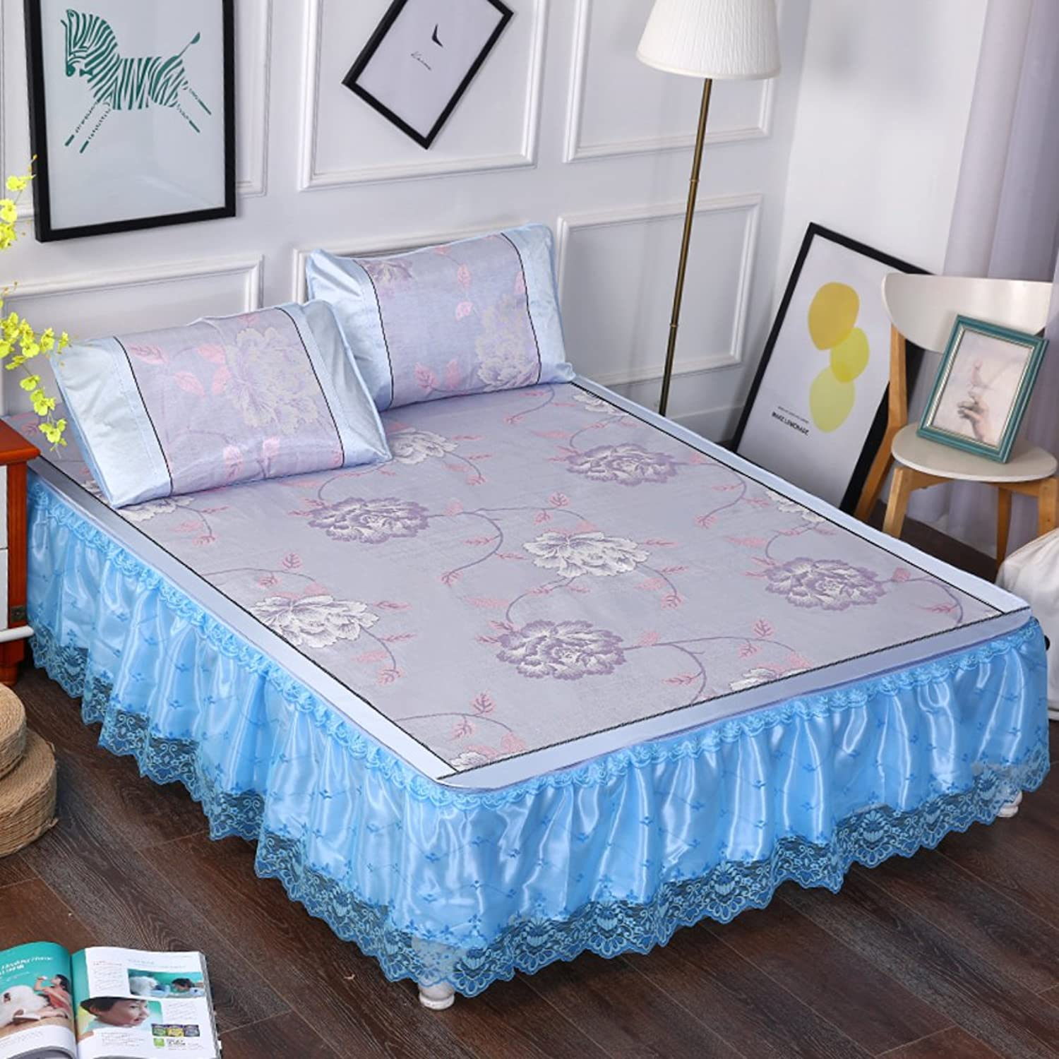 Summer lace Bed Skirt, Removable Three Sets ice Silk Summer mat Cool pad Flower Hypoallergenic Breathable Sleeping mat -C 150  200cm(59x79inch)
