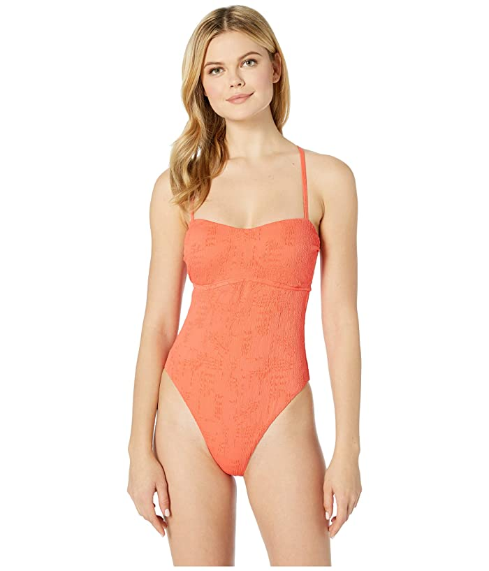 Lucky Brand Doheny Beach One-Piece Swimsuit (Hot Coral) Women