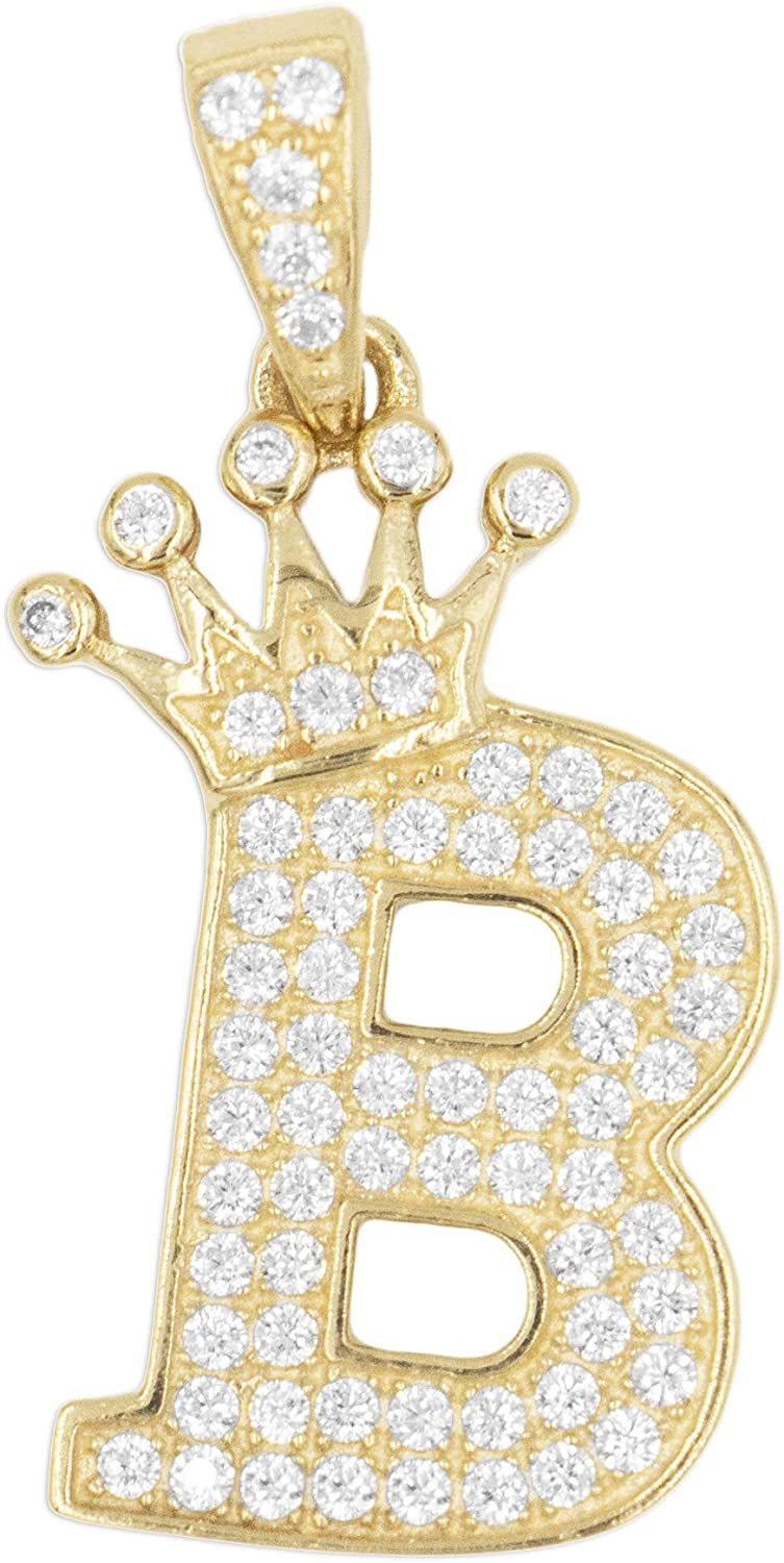 Large Challenge the lowest price 10k Solid Gold Max 64% OFF Initial Pendant Tiara with Set Letter