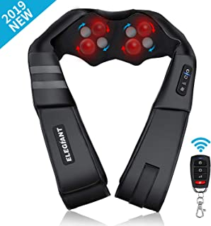 2019 New ELEGIANT Shiatsu Neck and Back Massager Wireless Remote Control-Inside The Small Pocket of The Massager, Electric Shoulder Massage with 3D Kneading Massage for Muscles Pain Relief Relaxation