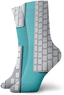Lay de teclados blanco plateado Calcetines cortos transpirables Calcetines clásicos de algodón de 30 cm para hombres Mujeres Yoga Senderismo Ciclismo
