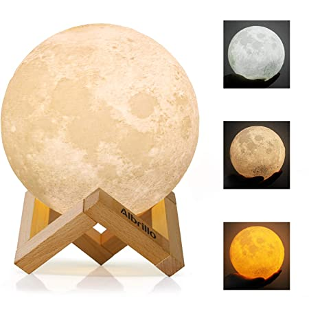 Albrillo 3D Lampe Lune - Veilleuse LED avec Interrupteur Tactile, 3 Couleurs et Dimmable, USB Rechargeable, 15cm Diamètre Portable Décoration pour Chambre Salon Café